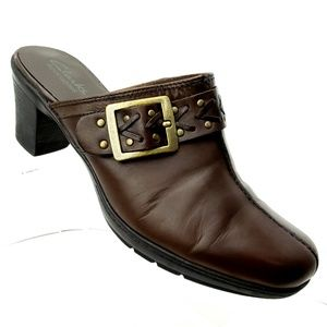 Clarks Bendables Brown Leather Mules 8 1/2 W Shoes